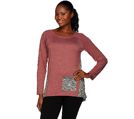 LOGO by Lori Goldstein Boucle Knit Top with Contrast Godet