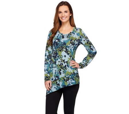 LOGO by Lori Goldstein Printed Knit Top with Angled Ruffle Hem