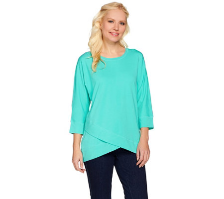 Denim & Co. Dolman Sleeve Top with Front Crossover Detail