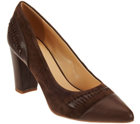 C. Wonder Leather & Suede Pumps with Woven Detail - Beatrice