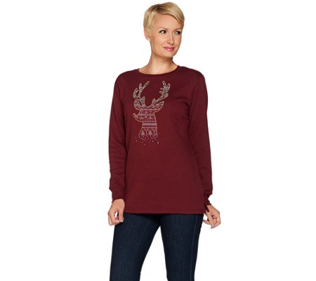 Quacker Factory Fair Isle Fun Holiday Fleece Top
