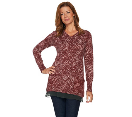 LOGO by Lori Goldstein Cotton Cashmere Printed Sweater with Woven Trim