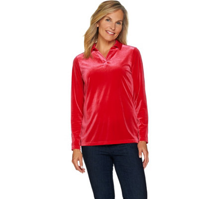 Denim & Co. Collared Long Sleeve Stretch Velvet Top