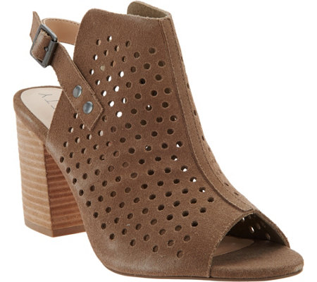 Sole Society Perforated Suede Slingback Sandals - Rena
