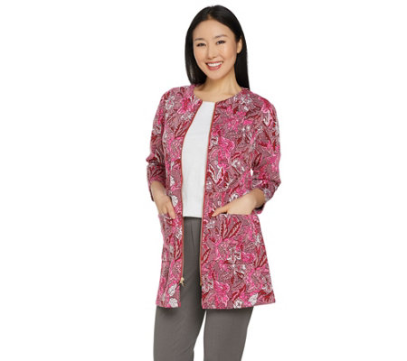Isaac Mizrahi Live! Floral Knit Jacquard 3/4 Sleeve Topper Coat