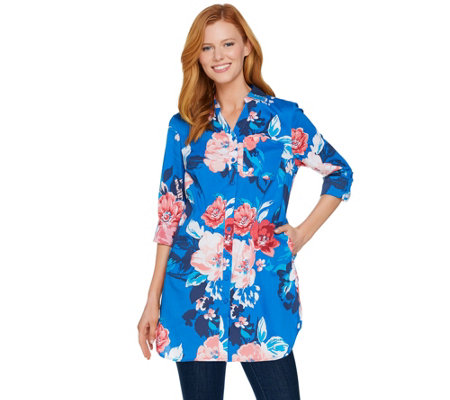 Denim & Co. Beach Floral Print Button Front Big Shirt