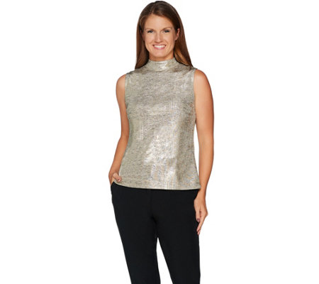 H by Halston Sleeveless Foil Printed Mock Neck Top