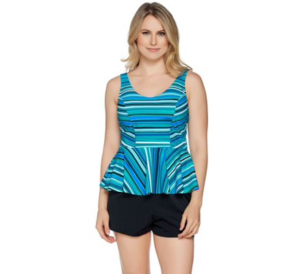 """As Is"" Contour by Beach Scene V-Neck Peplum Tankini w/Short Swimsuit"