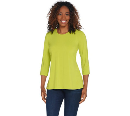 Joan Rivers 3/4 Sleeve Knit Top with Pleated Back