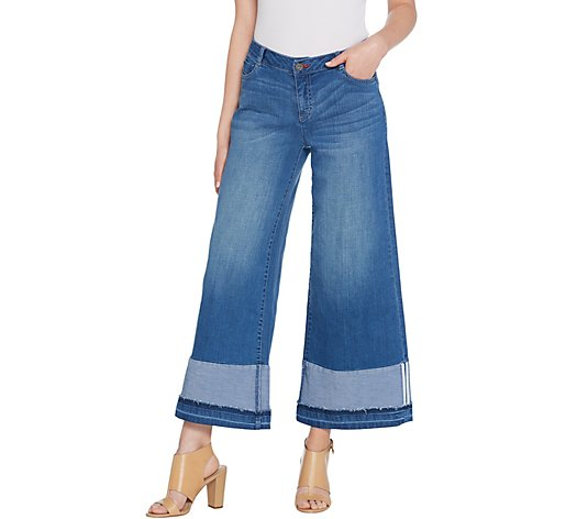 Peace Love World Wide-Leg Jeans with Oversized Cuffs