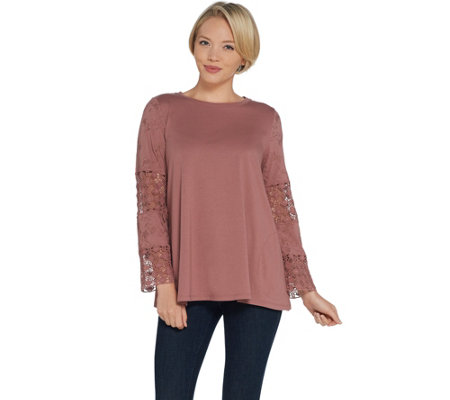 LOGO by Lori Goldstein Cotton Modal Knit Top with Lace Inserts