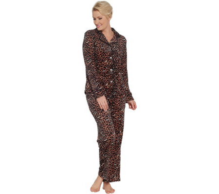 Carole Hochman Silky Velour Notch Collar 2-Piece Pajama Set
