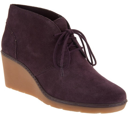 6045e773665 Clarks Suede Lace-Up Wedge Booties - Hazen Charm - Page 1 — QVC.com