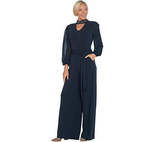Lisa Rinna Collection Sheer Sleeve Jumpsuit