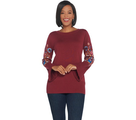Belle by Kim Gravel Embroidered Floral Bell Sleeve Sweater