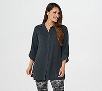 Side Stitch Button Front Curved Hem Tunic with Roll-Tab Sleeve - A345551