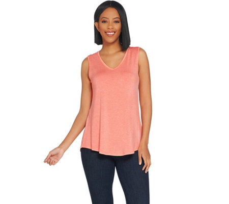 """As Is"" H by Halston Essentials V-Neck Tank w/ Hi-Low Hem"