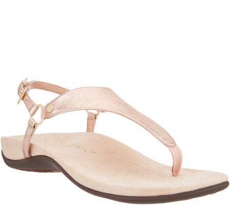 Vionic Leather T-Strap Sandals - Kirra Metallic