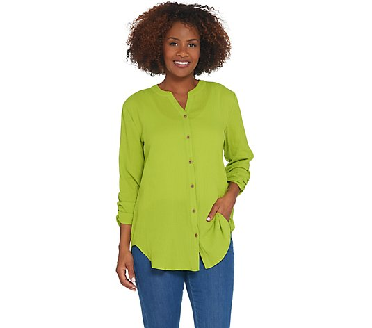 """As Is"" Susan Graver Cotton Gauze Button Front Shirt"