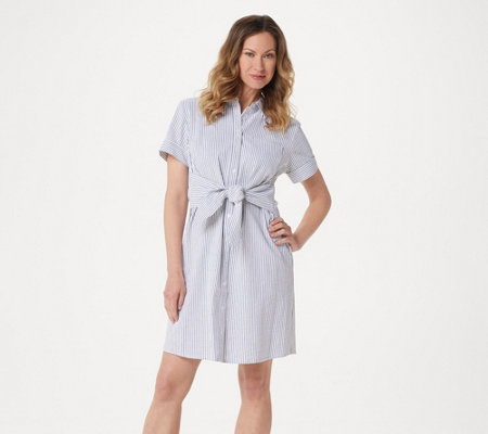Denim & Co. Regular Seersucker Tie Front Shirt Dress