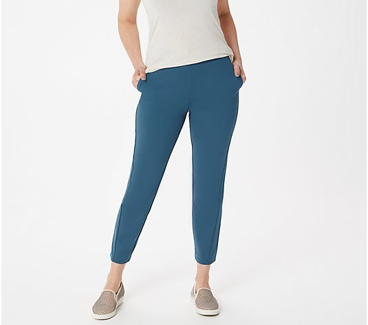 LOGO by Lori Goldstein Supreme Ponte Crop Slim-Leg Pants