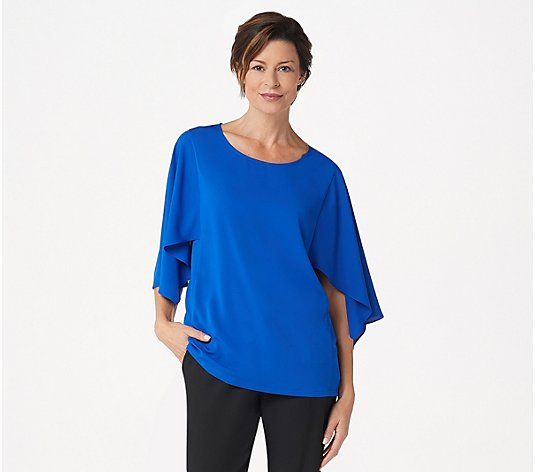 """As Is"" Dennis Basso Woven Scoop-Neck Top with Cape Sleeves"