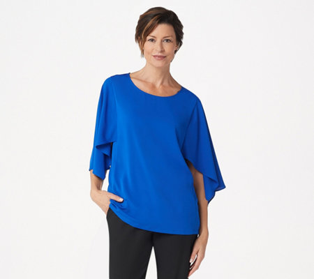 As Is Dennis Basso Woven Scoop Neck Top With Cape Sleeves