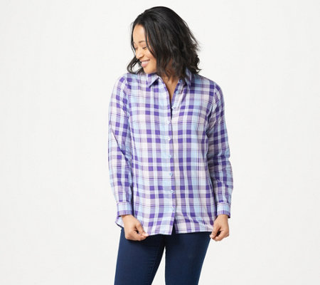 Joan Rivers Long Sleeve Plaid Shirt with Back Ruffle Detail
