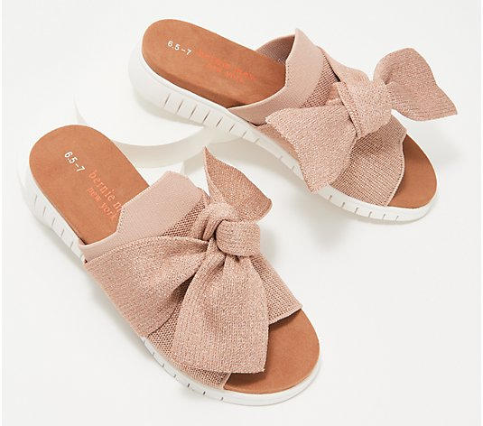 Bernie Mev Knit Slide Sandals with Bow - Freesia