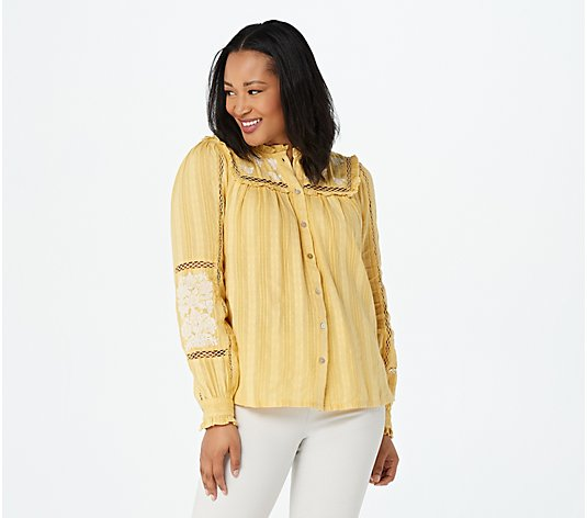 LOGO Lavish by Lori Goldstein Textured Woven Blouse with Embroidery