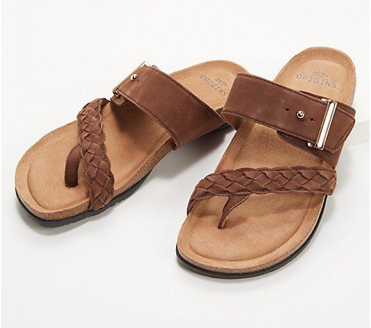 Earth Origins Braided Leather Toe-Post Sandals - Onida