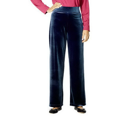 Susan Graver Stretch Velvet Wide Waistband Pants Petite Length