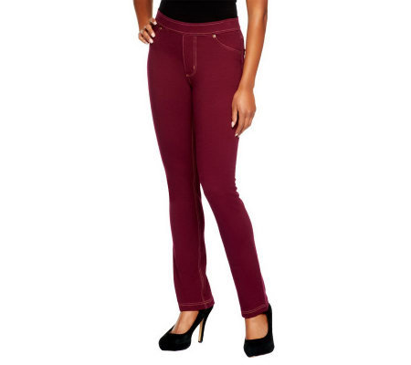 Susan Graver French Knit Jeggings with Faux Fly & Contrast Stitch