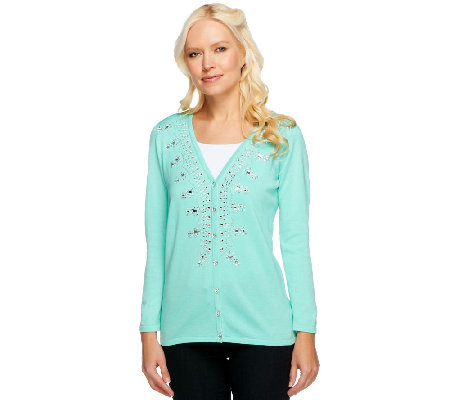 Quacker Factory V-neck Sparkle Bracelet Sleeve Cardigan