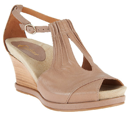 fc45cbba537d Earthies Seria Leather Peep Toe Wedge Sandals - Page 1 — QVC.com