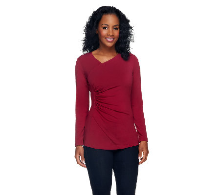 Susan Graver Liquid Knit Long Sleeve Surplice Wrap Top
