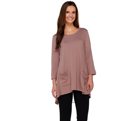 LOGO by Lori Goldstein Split Back Knit Top with 3/4 Sleeves