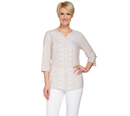 Denim & Co. Button Front Shirt with Embroidery Detail