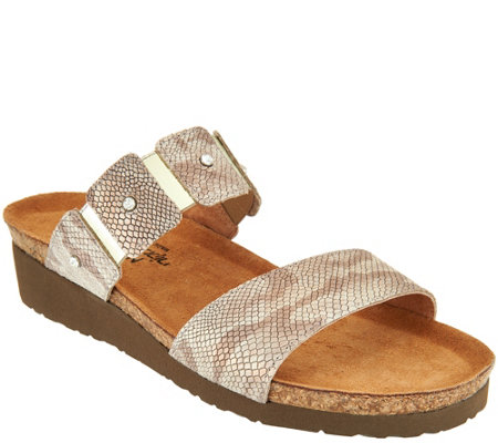 Naot Leather Double Strap Slide Sandals - Ashley