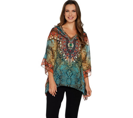 Belle by Kim Gravel Jeweled Medallion Poncho