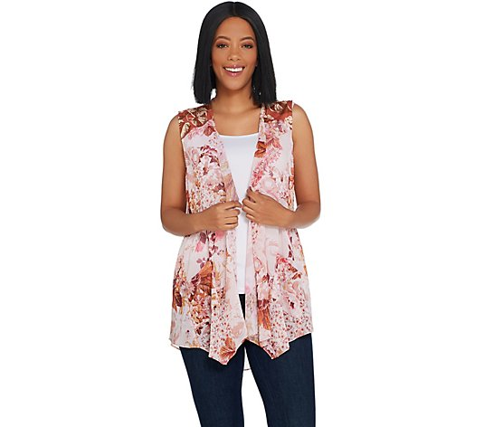 LOGO by Lori Goldstein Printed Chiffon Vest with Knit Yoke