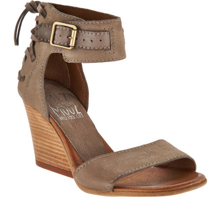 """As Is"" Miz Mooz Leather Wedges with Buckle and Tie Detail-Kiani"