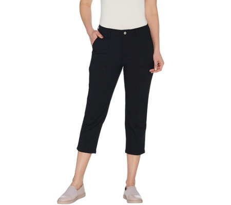 Denim Co Petite Stretch Double Weave Crop Pants With Pockets