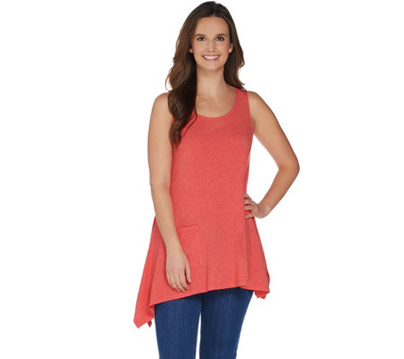 LOGO Lounge by Lori Goldstein Tank Top with Asymmetric Hem & Patch Pocket