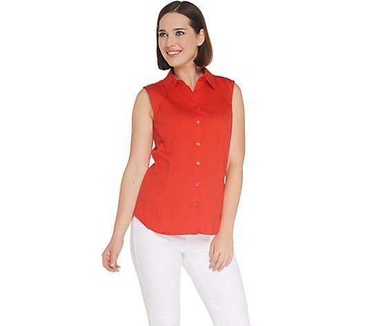 Joan Rivers Sleeveless Button Front Collared Blouse