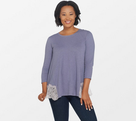 LOGO by Lori Goldstein Cotton Slub Knit Top with Lace Back Panel