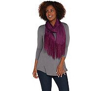 Isaac Mizrahi Live! Woven Scarf with Lace Trim - A308952
