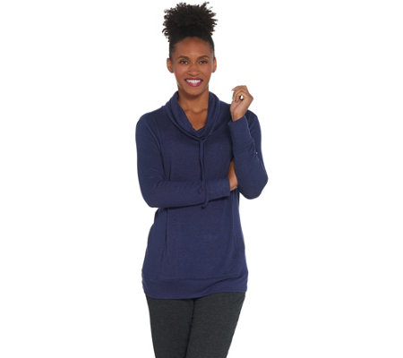 AnyBody Loungewear Brushed Hacci Cowl Neck Pullover Top
