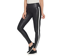 Spanx Faux Leather Black and White Striped Leggings - A341652