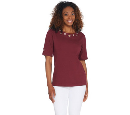 Quacker Factory Rhinestone Grommet Elbow-Sleeve Knit Top
